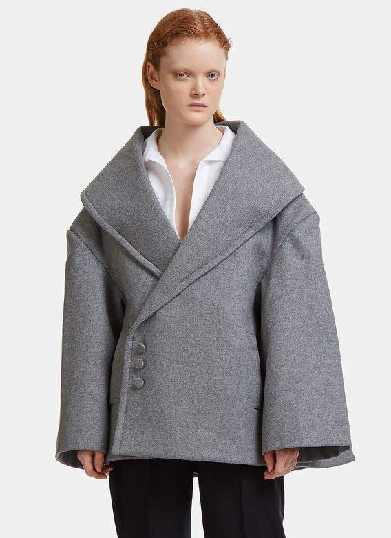 Le Caban Wool Coat in grey