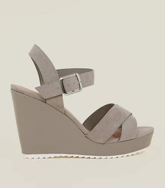 New Look Wide Fit Grey Cleated Wedge Sandals