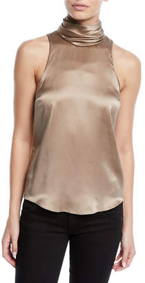 Cinq à Sept Jazlyn Silk Sleeveless Turtleneck Top