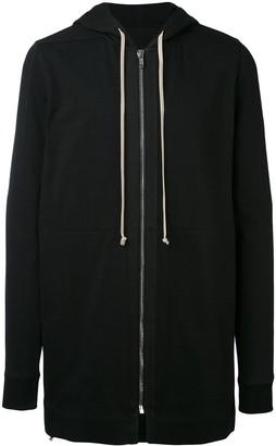 Rick Owens Black Zip Up long length hoodie