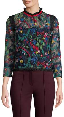 Saloni LONDON Women's Elsa Embroidered Top