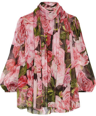 Dolce & Gabbana - Pussy-bow Floral-print Silk-chiffon Blouse - Pink $995 thestylecure.com