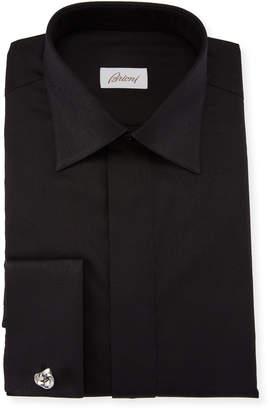 Brioni Men's Paisley Cotton French-Cuff Formal Shirt