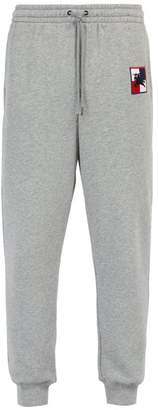 Burberry Logo Embroidered Cotton Track Pants - Mens - Grey