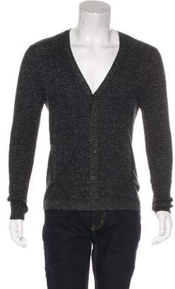 John Varvatos Leather-Trimmed Knit Cardigan