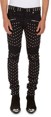 Balmain Allover-Studded Stretch-Cotton Skinny Jeans