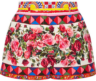 Dolce & Gabbana - Printed Cotton-poplin Shorts - Pastel pink $695 thestylecure.com