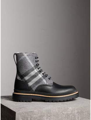 Burberry Shearling-lined Leather and Check Boots
