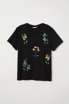 H&M T-shirt with Applique - Black