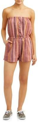 Paper Tee Juniors' Stripe Button Front Romper