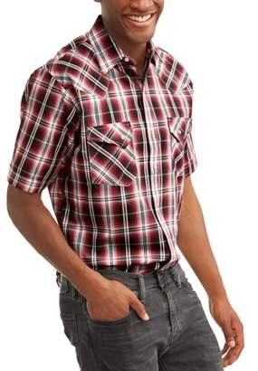 Plains Big and Tall Mens Short Sleeve Textured Plaids With Offset Pockets