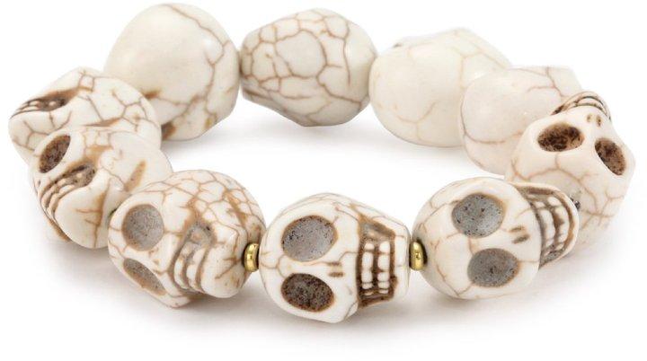 Helene Jewelry White Turquoise 18mm Skull Bracelet