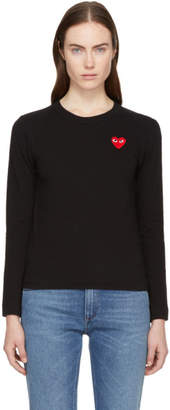 Comme des Garcons Black Long Sleeve Heart Patch T-Shirt