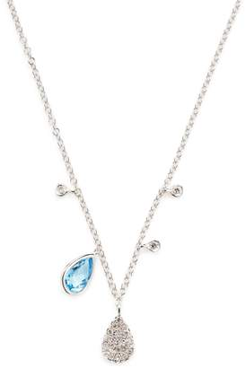Meira T Women's 14K White Gold, Blue Topaz & 0.11 Total Ct. Diamond Necklace