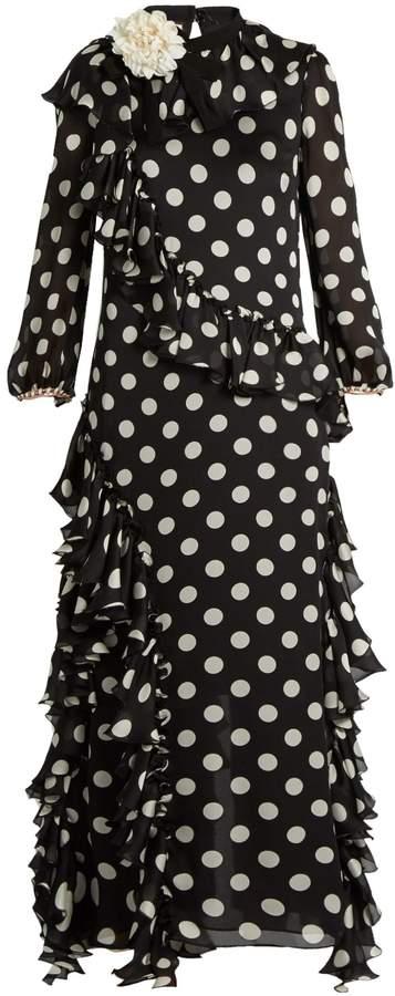 GucciGUCCI Ruffled polka-dot georgette gown