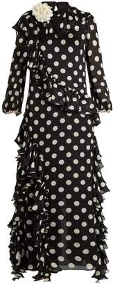 Gucci Ruffled polka-dot georgette gown