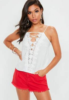 Missguided White Lace Up Front Crochet Trim Cami Top