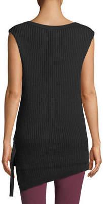 Black Tape Sleeveless High-Low Sweater