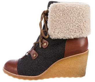 Tory Burch Lace-Up Shearling Booties