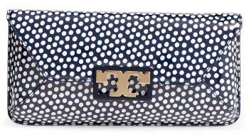 Tory BurchTory Burch Gigi Print Leather Clutch - Blue