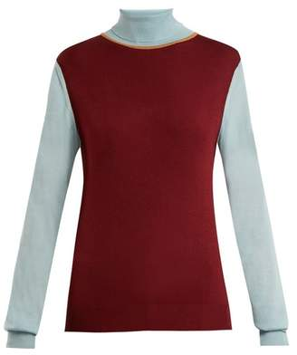 Roksanda Elsta Wool Roll Neck Sweater - Womens - Burgundy Multi