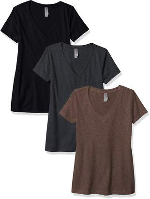 Clementine Apparel Women's Petite Plus Deep V-Neck T-Shirt (Pack of 3)