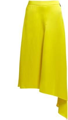 MSGM Asymmetric-hem satin skirt