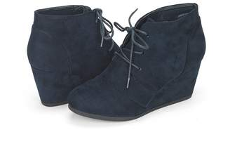 DREAM PAIRS TOMSON Women's Casual Fashion Outdoor Lace Up Low Wedge Heel Booties Shoes Navy Size 9.5