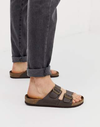 Jack and Jones slip on sandals with Leather buckled straps in brown