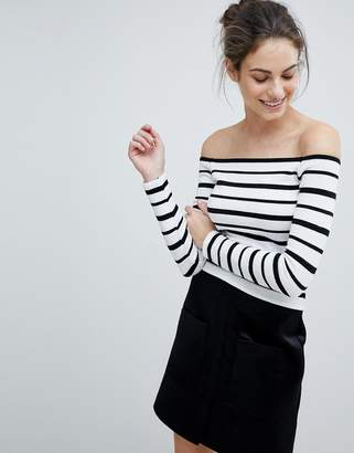 Lipsy Off Shoulder Crop Top In Stripe