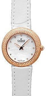 Charmex ラスベガス6295 35 mmステンレススチールCaseホワイトカーフスキンSynthetic Sapphire Women 's Watch