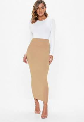 Missguided Camel Jersey Midi Skirt