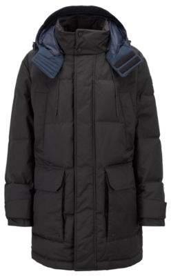 BOSS Hugo Down-filled jacket water repellency & detachable hood 36R Black