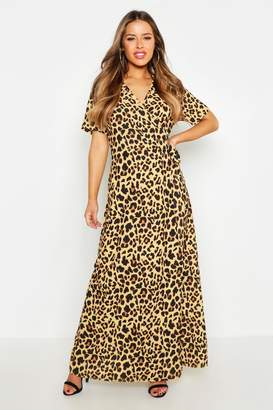 boohoo Petite Wrap Leopard Print Maxi Dress