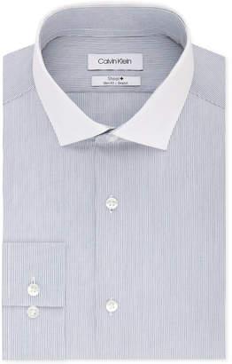 Calvin Klein Men's Steel Slim-Fit Non-Iron Performance Stretch Blue Stripe Dress Shirt