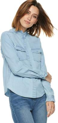 Popsugar Women's POPSUGAR Ruffle-Collar Denim Shirt