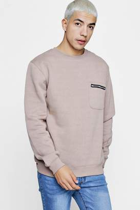 boohoo Zip Pocket Detail Crew Neck Sweater