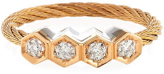 Alor 18k Rose Gold & Stainless Steel 4-Diamond Cable Ring Size 7