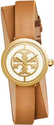 Tory Burch REVA DOUBLE-WRAP WATCH, LUGGAGE LEATHER/GOLD-TONE, 28 MM
