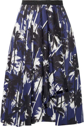 Jason Wu - Grosgrain-trimmed Printed Cotton-poplin Skirt - Navy $730 thestylecure.com
