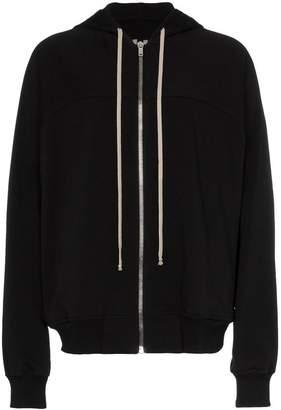 Rick Owens zipped grey drawstring hoodie