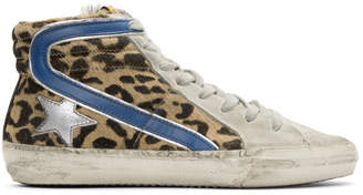 Golden Goose Multicolor Leopard Slide High-Top Sneakers