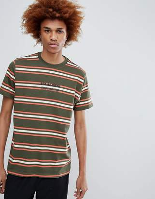 MHI Striped T-Shirt With Chest Logo In Green