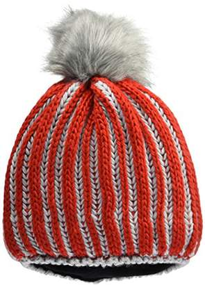 James & Nicholson Ladies' Winter Hat Beanie, Multicolour Light-red/Silver