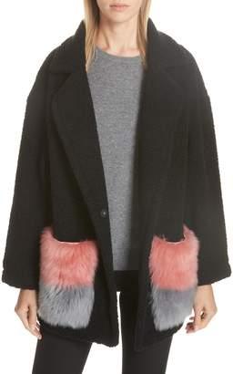 ANNE VEST Berri Wool Blend Coat with Genuine Shearling Pockets