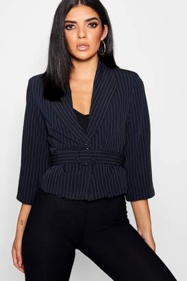 boohoo Woven Pinstripe Belted Cropped Blazer