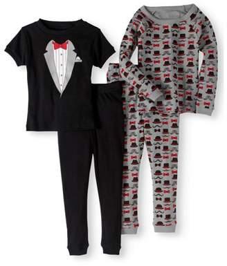 Bunz Kidz Long Sleeve Top, Short Sleeve Top & Jogger Pants Pajamas, 4-piece Set (Toddler Boys)