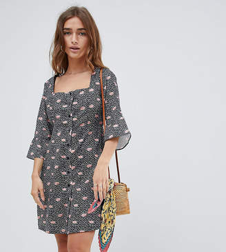 Glamorous Petite button down tea dress in rose floral print