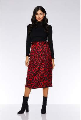 Quiz Red and Black Leopard Print Wrap Skirt