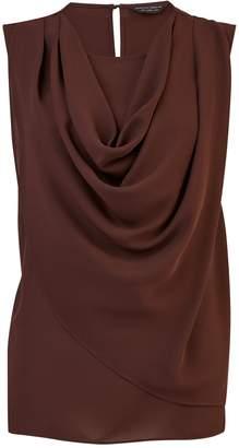 537f2308f10077 Dorothy Perkins Womens **Chocolate Sleeveless Cowl Top